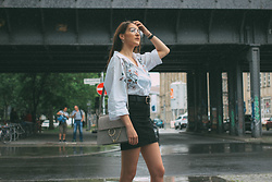 Jade Sheils - Humana Thrifted Denim Skirt, Zara Embroidered Oversized Shirt, New Look Black Belt - Guess the €2 Garment