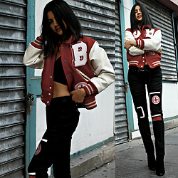 Florencia R - Jules Club Letterman Jacket, Jules Club Custom Jeans, Boohoo Crop Top, Public Desire Ankle Boots - One of the boys