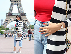 Gilda - Esprit Cardigan, Bimba Y Lola Bag, Boohoo Plateau Shoes, Bershka Mom Jeans, Zara Crop Top - Stripes in Paris