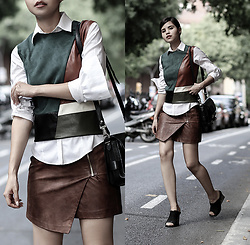 Adriana Gastélum - Shein Faux Leather Vest, Brooks Brothers Shirt, H&M Skirt, Proenza Schouler Ps11 Bag, More Outfits On - Younger Self