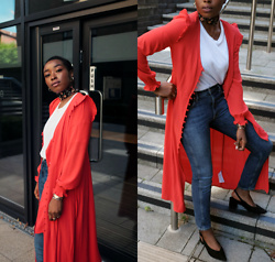 Remi Afolabi - New Look Dress, Tularosa Jeans, New Look Shoes - Pretty Red Dress