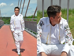 Pawel - Dsquared2 Jacket, Puma Shoes By Miharayasuhiro, Jan Paulsen T Shirt, G Star Raw Jeans - Total white look/june