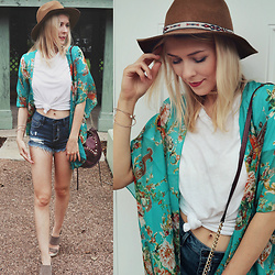 Zuzana - Forever 21 White Top, Cello Jeans Denim Shorts, Dolce Vita Wedge Sandals - Boho Chic!