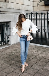 Maria B - Shein Frill Tiered Fluted Sleeve Top, Furla Metropolis Bag, Zara Jeans, Zara Flat Shoes With Bow Detail - White & Denim