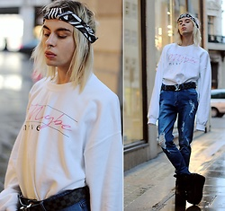Milex X - Bond Street Exit Bandana, Louis Vuitton Belt, Dainty Dirtbags Sweatshirt, Girlmerry Jeans, Buffalo Platforms - MAYBE NEVER