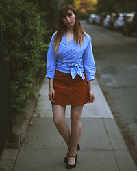 Becca L - Forever 21 Suede Skirt, H&M Wrap Around Top - Golden Hour