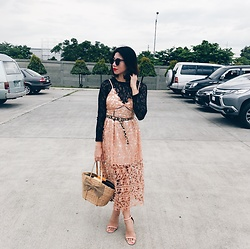 Cassey Cakes - Topshop Top, Mango Leopard Belt, Mango Tassel Earrings - Black & Blush