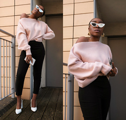 Remi Afolabi - & Other Stories Jumper, Asos Trousers, Public Desire Heels, Le Specs Sunglasses, H&M Gold Earrings - Think Pink