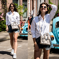 Jacky - Gann Shirt, 3.1 Phillip Lim Bag, Levi's® Shorts, Adidas Sneakers - Denim Shorts and White Shirt in Amsterdam