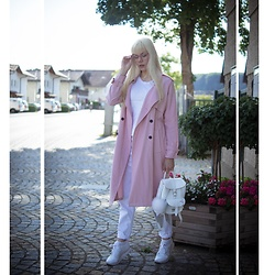 Maria R - Grafea White Backpack, Reebok White Sneakers, Pimkie Pink Trench, Zara White Mom Jeans - Pink Trench Look No. 1