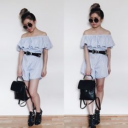 Sandy Y - Forever 21 Circle Sunnies, Off The Shoulder Romper, Urban Outfitters Western Belt, Forever 21 Mini Backpack, Forever 21 Black Ankle Boots - Feeling Blue