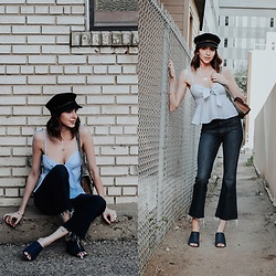 Amber - Brixton Newsboy Cap, Anthropologie Tie Crop Top, Rag & Bone Cropped Flare Denim, Nine West Denim Mules - Extra, extra