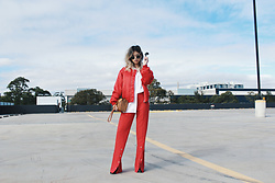 Leanne Pak - I.Am.Gia Jacket, I.Am.Gia Pant, Surrender The Label Bag - THE LADY IN RED