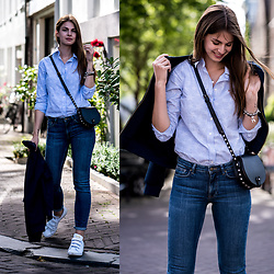 Jacky - Rebecca Minkoff Bag, Gant Jeans, Gant Shirt, Gant Jacket, Adidas Sneakers - Cycling through Amsterdam
