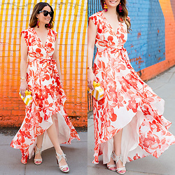 Jenn Lake - Eliza J Red Floral High Low Maxi Dress, Sam Edelman Stripe Bailey Clutch, Via Spiga Gardenia Sandals, Kate Spade Multicolor Tassel Earrings, Celine Marta Sunglasses - Red Floral High Low Maxi Dress