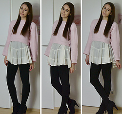 Jimena Palermo - Zara Sweater, Review By P&C Dress, H&M Leggings, Deichmann Heels - Rose Sweater