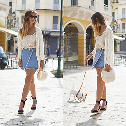 Tamara Bellis - Asos Espadrilles, Zaful Basket Bag, Gamiss Denim Skirt, Mango Blouse, Pink Woman Cardigan, Zaful Sunglasses - Summer Mornings in Corfu Town