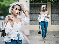 Nilu Yuleena Thapa - Chic Wish Offshoulder Top, Gucci Dionysus, Nakd Fashion High Waist Slit Denim - Radiant