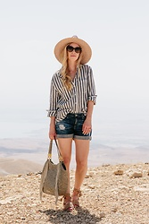 Meagan Brandon - Brixton Panama Hat, Striped Linen Shirt, Ag Denim Shorts, Brahmin Fringe Bag, Joie Sandals - Stripes in the Holy Land