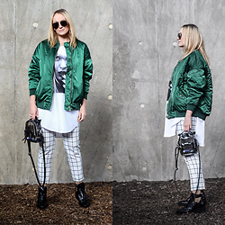 Mad Cat Fashion P. - H&M Bomber, Zara Printed Shirt, Primark Pants, Zara Boots, Zara Bag, Primark Hoops - MyLook #136