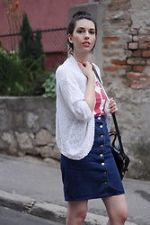 Jelena - Asos Denim Skirt, Bershka White Cardigan - Another T-shirt