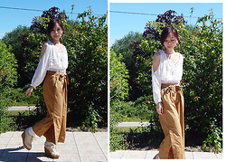 Nowaki Selenocosmia - Shein White Crop Top, Bershka Large Pants, Lizlisa Platform Shoes - Mori girl inspiration
