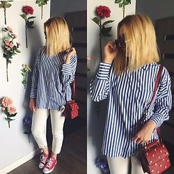 Matylda - Zara Striped Shirt, Converse, Zara Bag, Stradivarius Round Glasses - Striped shirt & red bag
