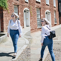 Elizabeth Claire - Zara Black Backpack, Whowhatwear White Blouse, Bdg Twig High Rise Jeans, Pull & Bear Faux Leather Espadrilles, River Island White Sunglasses - A Day in Exeter