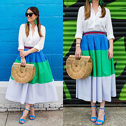 Jenn Lake - Anthropologie Color Block Midi Skirt, Cult Gaia Ark Bag, Sam Edelman Yaro Sandals, Kate Spade Green Tassel Earrings, Quay Sugar And Spice Sunglasses, J. Crew White Collared Shirt - Color Block Midi Skirt
