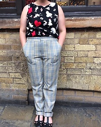 Selina - Self Made Alice In Wonderland Print Top, Urban Outfitters Checked Trousers, Clarks T Bar Sandals - Lucky rabbits foot