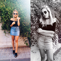 Cris M. - Bershka Denim Skirt, H&M Mules - Mad about the 90s