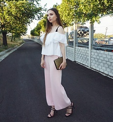 Aliz M - Zara Ruffled Top, Zara Strap Heels, Zara High Waist Trousers - Pretty in Pink