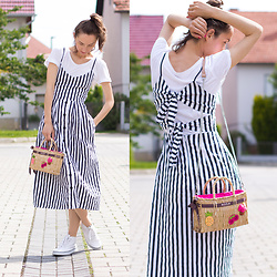 Iva K - Božur Straw Bag, H&M Sneakers - Midi striped dress