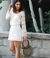 Karen Or - Urban Outfitters Lace Dress - Boho Lace + Basket Bag