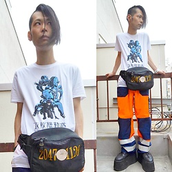 @KiD - Ghost In The Shell Tee, Techno Fireman Pants, Buffalo Platform, 20471120 Waist Porch, Funk Plus White Bracelets - Japanese Trash148