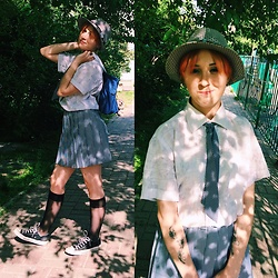 Nell Karasu - Knee Socks, Black Shoes, School Bag, White Shirt, School Skirts, Gray Hat, Gray Ties - School style