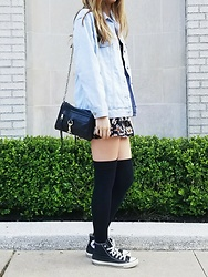 Erika - Forever 21 Oversized Denim Jacket, Kimchi Blue Daisy Romper, Rebecca Minkoff Mini Mac, Urban Outfitters Over The Knee Socks, Converse - Daisies