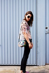 Malia Keana - Zara Jeans, Zara Lace Shirt, Miu Sunglasses, Zara Shoulder Bag - Floral embroidery sheer lace top