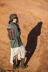 Alexe Bec - Doll Poupée Embellished Army Jacket, Brixton Cap, Free People Dress, Dkode Boots - All green everything