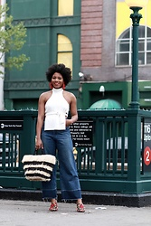 Monroe Steele - Guars Fatim Top, Katerina Makriyianni Earrings, Rachel Comey Jeans, Piñata Tote, Sole Society Sandals - Shopping in Harlem