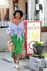 Monroe Steele - Katerina Makriyianni Earrings, Off The Shoulder Top, Milly Skirt, Cult Gaia Bag, Tibi Shoes - Where to Eat in Harlem