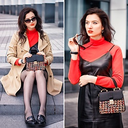 Natasha Karpova - Zaful Mini Bag, New Look Loafers, H&M Trenchcoat, &Berries Leather Dress - NOSTALGIA...