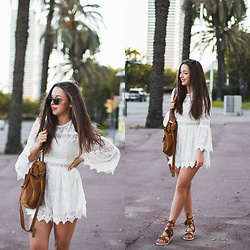 Gabriela Grębska - Metisu Jumpsuit, Zaful Shoes, Kapten&Son Sunnies - Crochet white jumpsuit