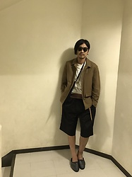 Hideki. Mn - Oliver Peoples Clip On Sunglasses, Roundabout Wool Jacket, Class T Shirt, Cmmnswdn Tracksuit Shorts, Petrucha Leather Slip On - Japanese fashion 15