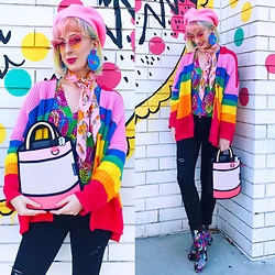 Kate Hannah - Christian Dior Silk Scarf (Vintage), Jumpfrompaper Heatwave Handbag, Doodad + Fandango Custom 'Kate' Earrings, Diesel Skinzee 084ex Jeans, Lazy Oaf Rainbow Cardigan, Public Desire Hana Embroidered Ankle Boot - Flowers and rainbows and cartoons... Oh my!
