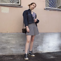 Ivana Braer - Diy Denim Jacket, Vintage Tee, Stradivarius Skirt, Converse Sneakers - Gingham and Denim