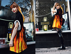 Malin Rouge - Oversized Flame Print Shirt Dress 90s - Hot Shit