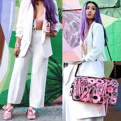 Nomadic Heels - Zara Pants, Zara Jacket, Coach Bag, Puma Sneakers - Women in Suits