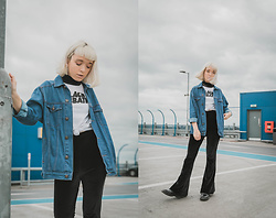 Peaches - Asos Oversized Denim Jacket, Missguided Velvet Flare Trousers, Ebay Black Sabbath Band T Shirt - Blue Denim