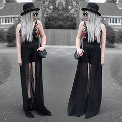 Sammi Jackson - Zaful Sunglasses, Primark Black Fedora, Wholesale7 Rose Appliqué Chiffon Maxi Dress, Romwe Crucifix Bag, Jeffrey Campbell Shoes Spiked Litas - ROSES + CHIFFON